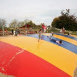 Children on the bouncy inflatable