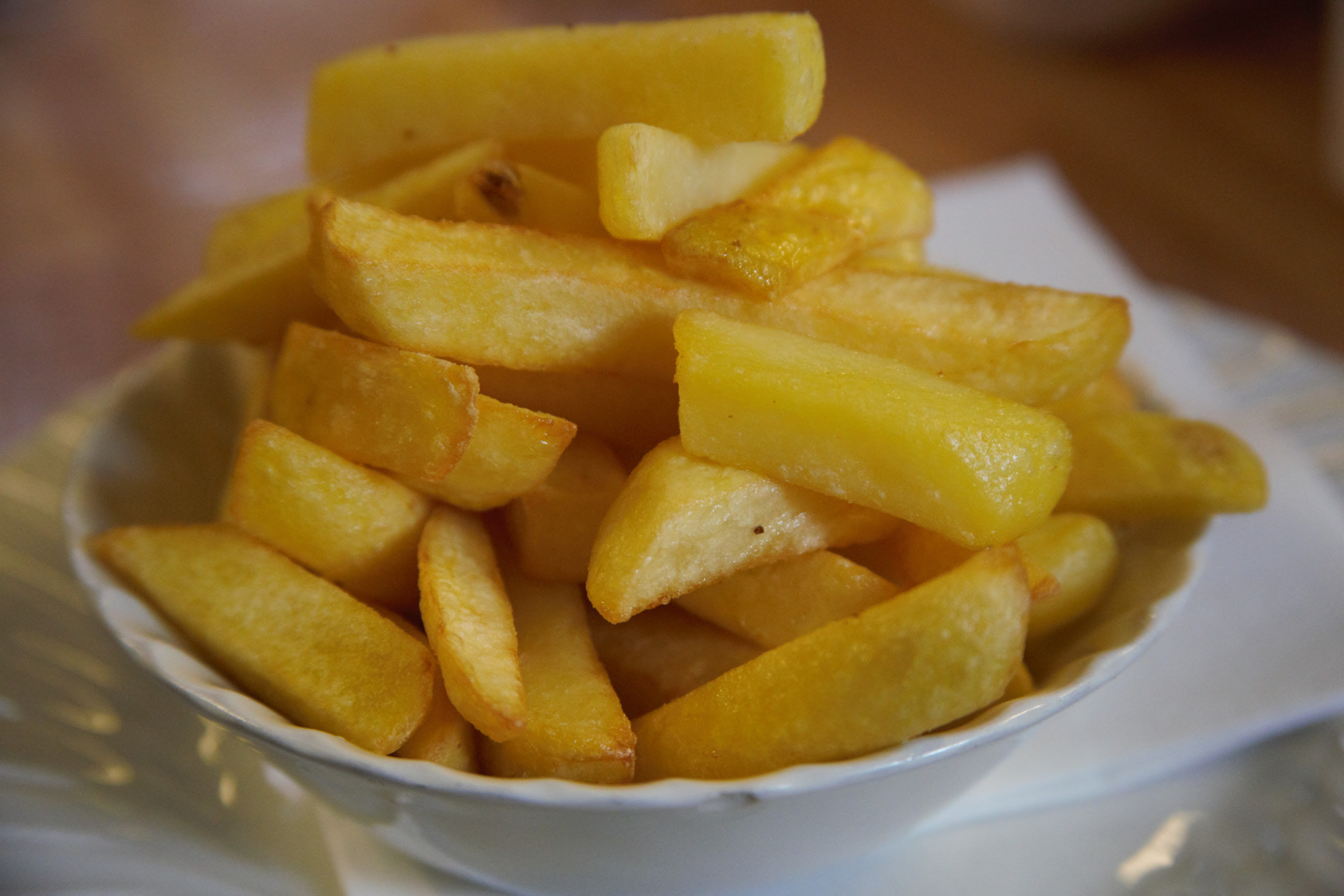 Chips served in a bowl at Barmy Barn