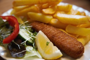 A children's portion, fish finger and chips
