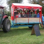 Visitors on a trailer behind a tractor